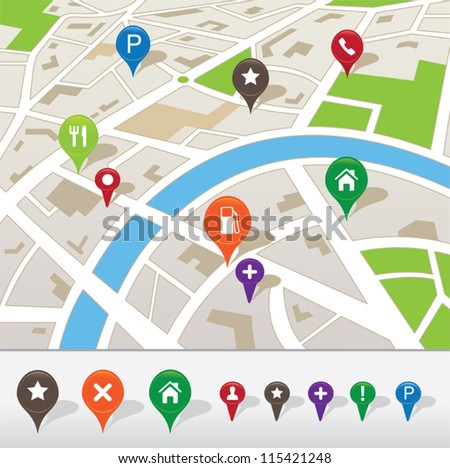 City map with navigation icons - stock vector