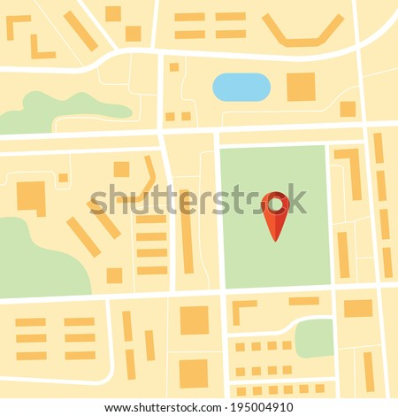 City map with navigation red pin. Schematic cartographic representation of roads, homes, vegetation and ponds - stock vector