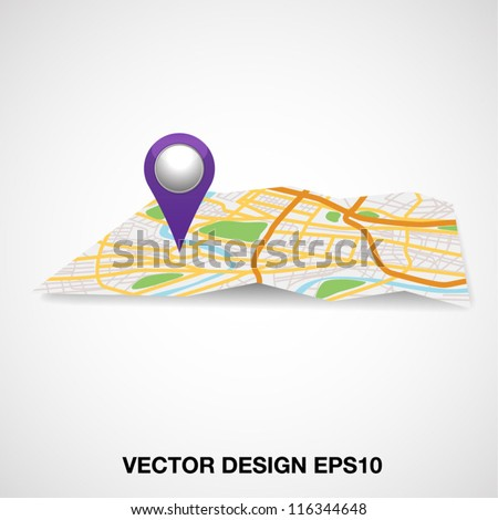 City map with Pointer sign. Vector illustration. - stock vector