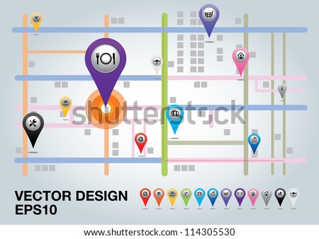 City map with  Pointers. Vector illustration. - stock vector