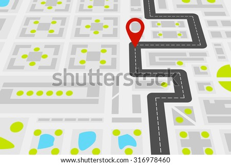 City map with road - stock vector