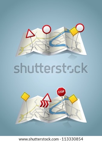 City map with road signs - stock vector