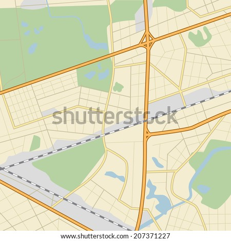 city �¢??�¢??map with roads, parks, lakes and river