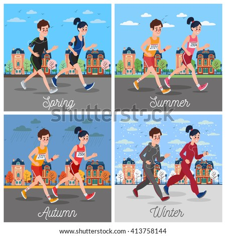 City Marathon Runners. Man and Woman Running Through the Town. Sports Man and Woman. Running Sportsman. Jogging Couple. Family Outdoors Activity. Sport Family. Running Family. Vector illustration - stock vector