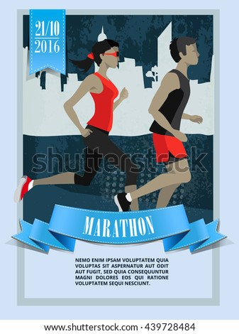 City marathon,Running people characters. Poster, Flyer, ribbon banner - stock vector