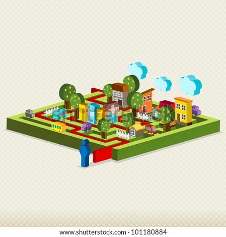 City maze, Vector illustration fo maze - stock vector