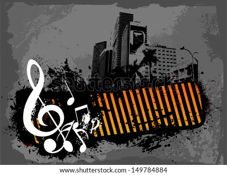 City music background - stock vector