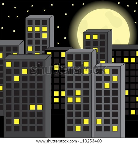 city night and a full moon - stock vector