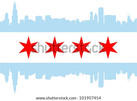 City of Chicago flag with high rise buildings skyline - stock vector
