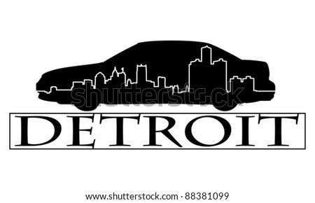 City of Detroit high-rise buildings skyline. - stock vector
