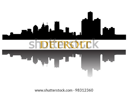 City of Detroit high-rise buildings skyline - stock vector