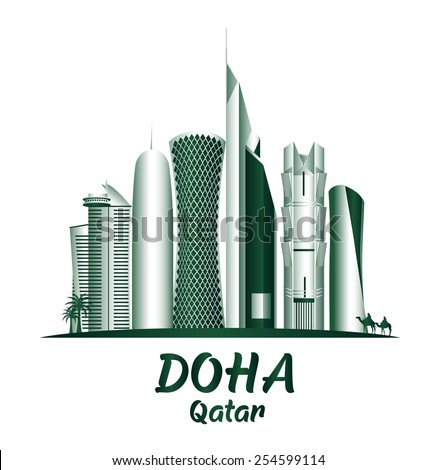 City of Doha Qatar Famous Buildings. Editable Vector Illustration - stock vector