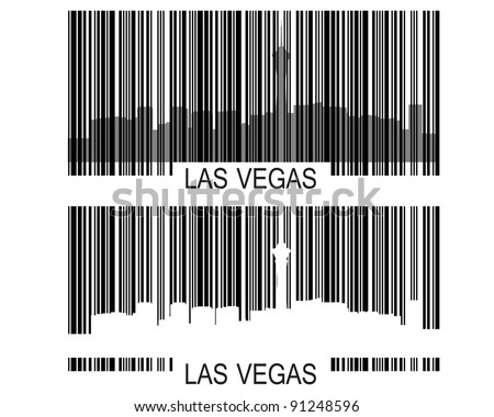 City of Las Vegas high-rise buildings skyline with barcode.