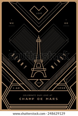 City love wedding invitation valentines day stock vector 248629129 city of love wedding invitation valentines day proposal card art deco stopboris