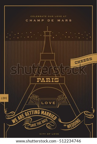 City love wedding invitation valentines day stock vector 512234746 city of love wedding invitation valentines day proposal card art deco stopboris