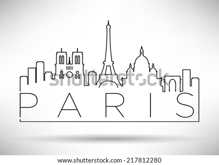 City of Paris Skyline with Minimal Design - stock vector