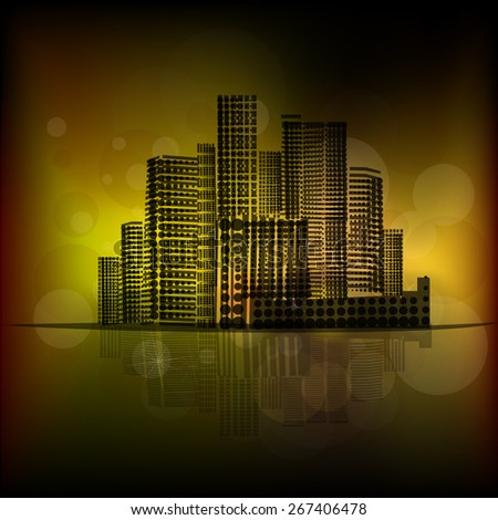 City on a gold background. Vector - stock vector