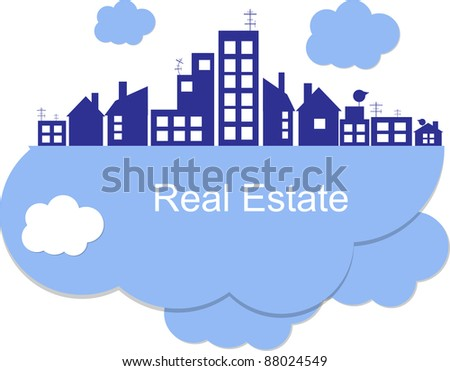 City on clouds - stock vector