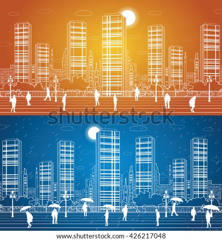 City panorama, office buildings and shopping centers, people walk on the square, the city's infrastructure, airplane fly, the rain, people under umbrellas, vector design art - stock vector