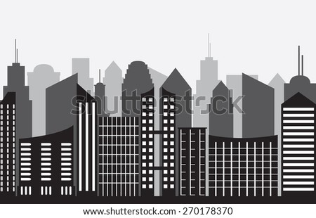 City panorama on gray background