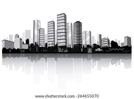 City panorama with reflection. Buildings silhouettes. Vector. - stock vector