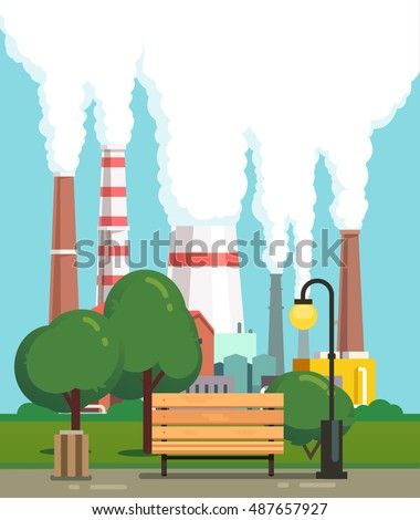 City park bench and trees near air polluting factory pipes. Modern flat style vector illustration.