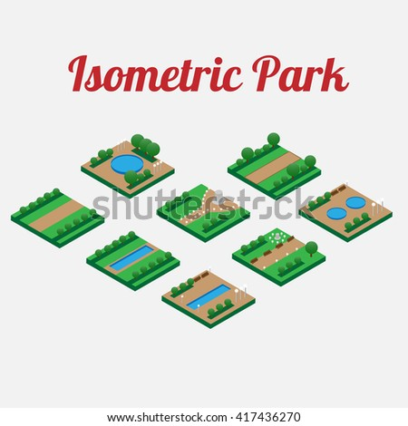 City park furniture with alleys and pool. City map elements isometry. Isometric infographic. Vector illustration - stock vector