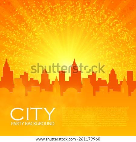 City pattern on shining background. Vector illustration - stock vector