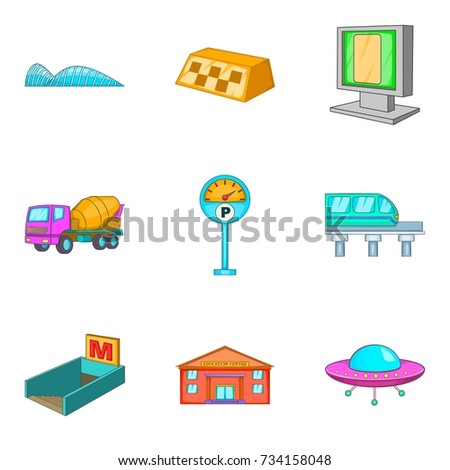 City public transport icons set. Cartoon set of 9 city public transport vector icons for web isolated on white background