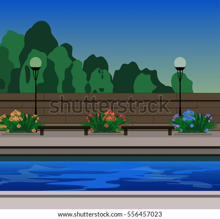 city quay background with  benches and flowerbeds