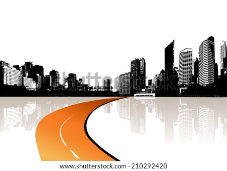 City reflected in the water. Vector - stock vector