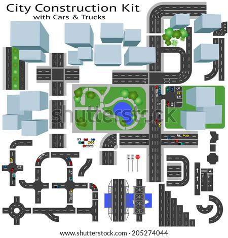 City Road construction Kit to Build your own, see my portfolio for other kits  - stock vector