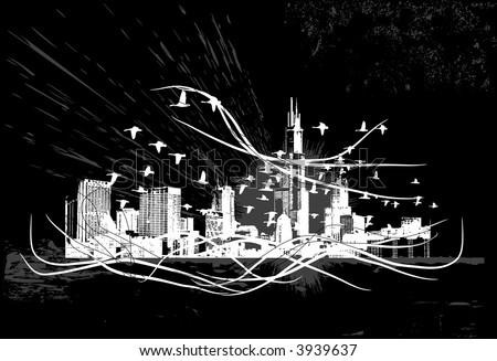 City Scape Skyline, Grunge Vector Illustration - stock vector