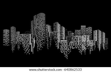 City scene on night time city 640862533 shutterstock city scene on night time city night on black background voltagebd Images