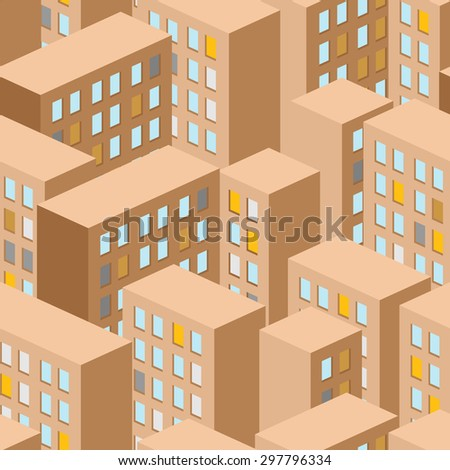 City seamless pattern. Vector city panorama. background buildings are houses. - stock vector