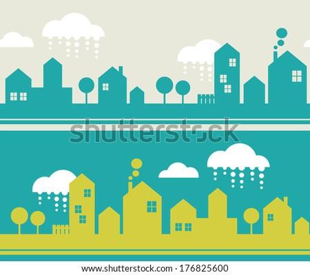 City seamless pattern. Vector illustration. - stock vector