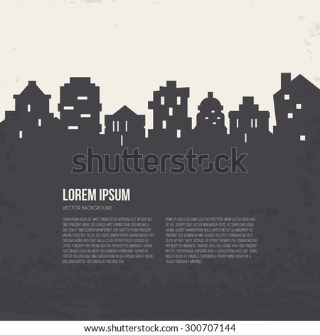 City silhouette architectural illustration with place for your text. Line style vector design. Modern template with skyscrapers.  - stock vector