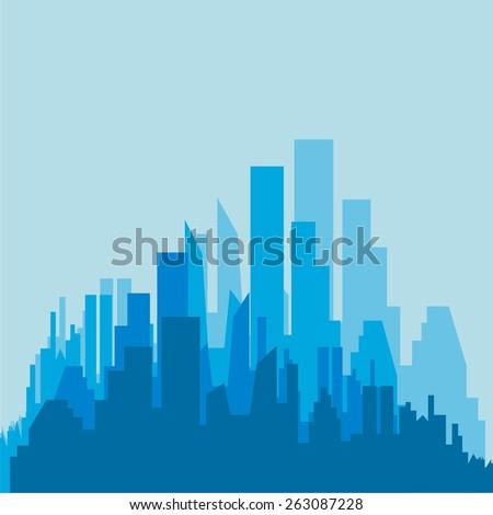 City silhouette. Buildings icon - stock vector