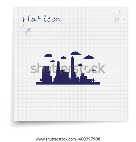 City silhouette icon. - stock vector