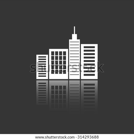 city silhouette vector icon with mirror reflection