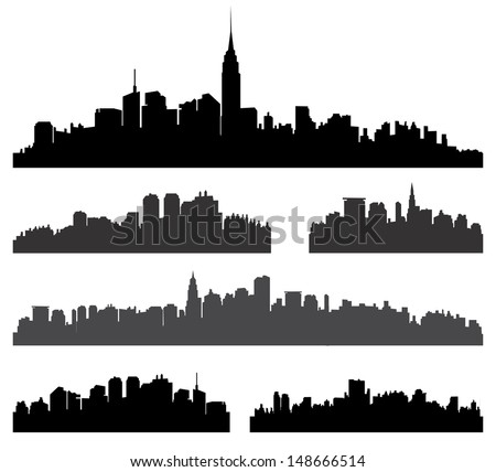 City silhouette vector set. Panorama city background. Skyline urban border collection.   - stock vector