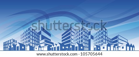 City silhouette with different types of buildings over blue sky. EPS10 - stock vector