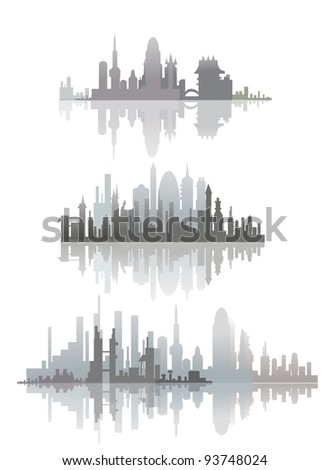 city silhouettes - stock vector