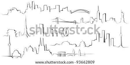 City silhouettes. Berlin, Sydney, New York, Tokyo, Beijing - stock vector