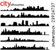city silhouettes great set vector - stock vector