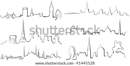 City silhouettes. London, Paris, Istanbul, Moscow, Rome, Vienna - stock vector