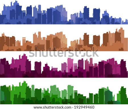 City silhouettes of different colors on white - stock vector