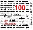 City silhouettes of the most popular cities of the world. Vector. - stock photo