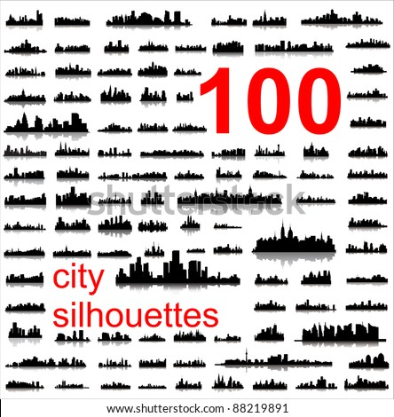 City silhouettes of the most popular cities of the world. Vector. - stock vector