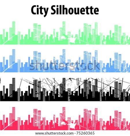 city silhouettes vector - stock vector